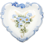 Milk Glass Heart Shaped Dish Hand Painted Blue Forget Me Not Flowers Victorian.