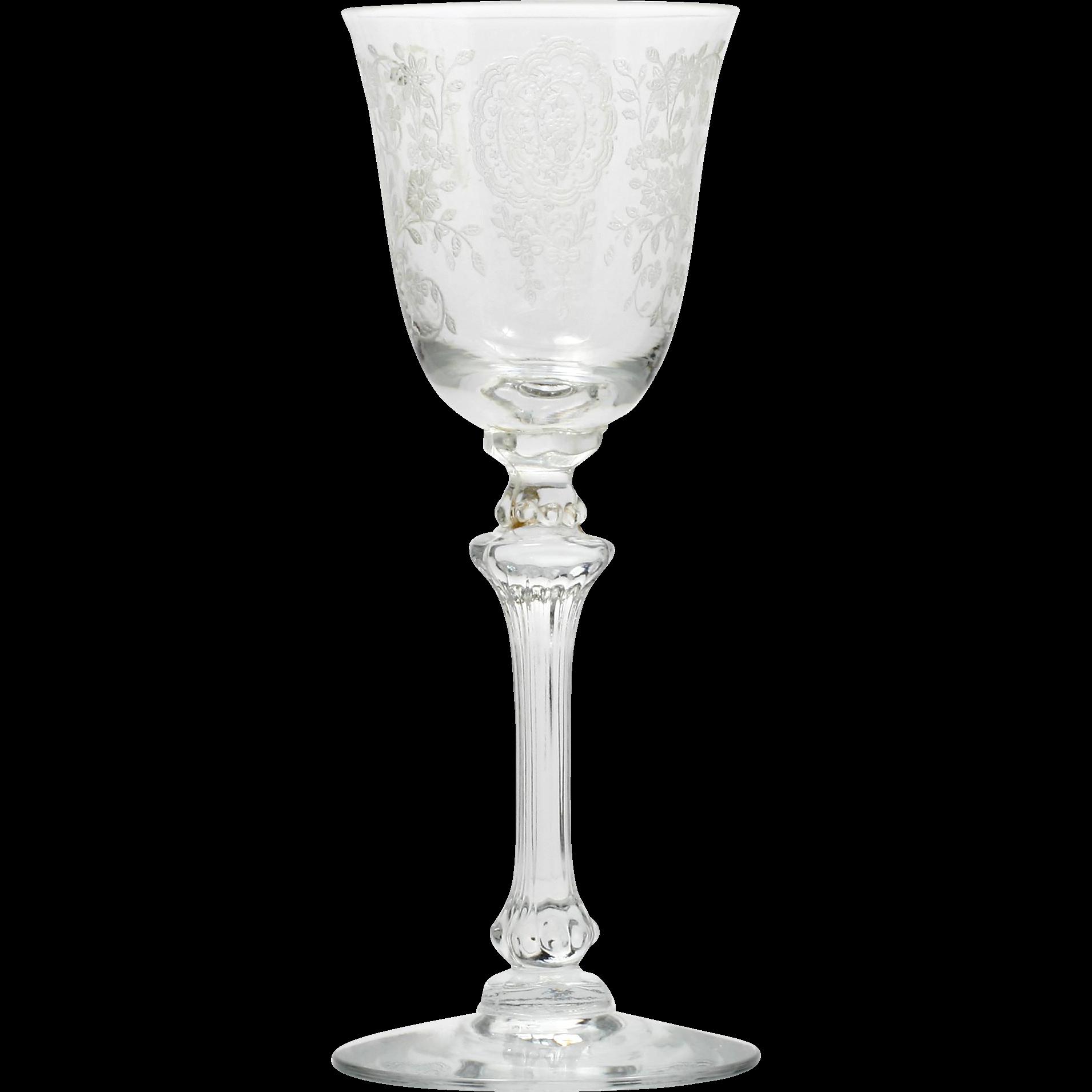 Tiffin June Night Wine Glass Etched Elegant Crystal Vintage 1940s