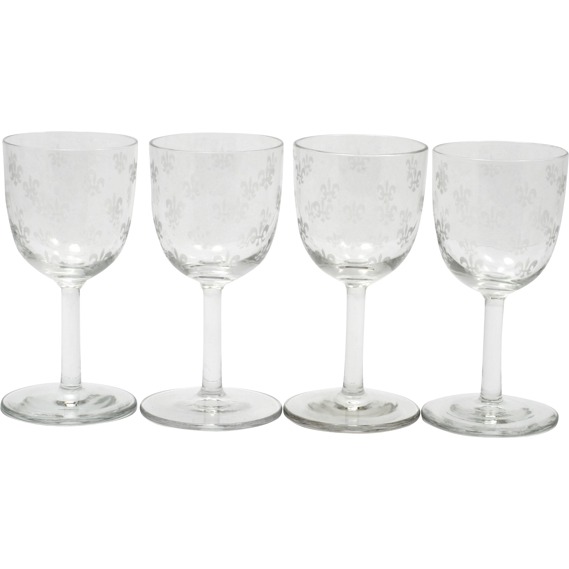 Fleur De Lis Etched Wine Glasses Set of 4 Vintage Elegant Glass 1930s Bryce