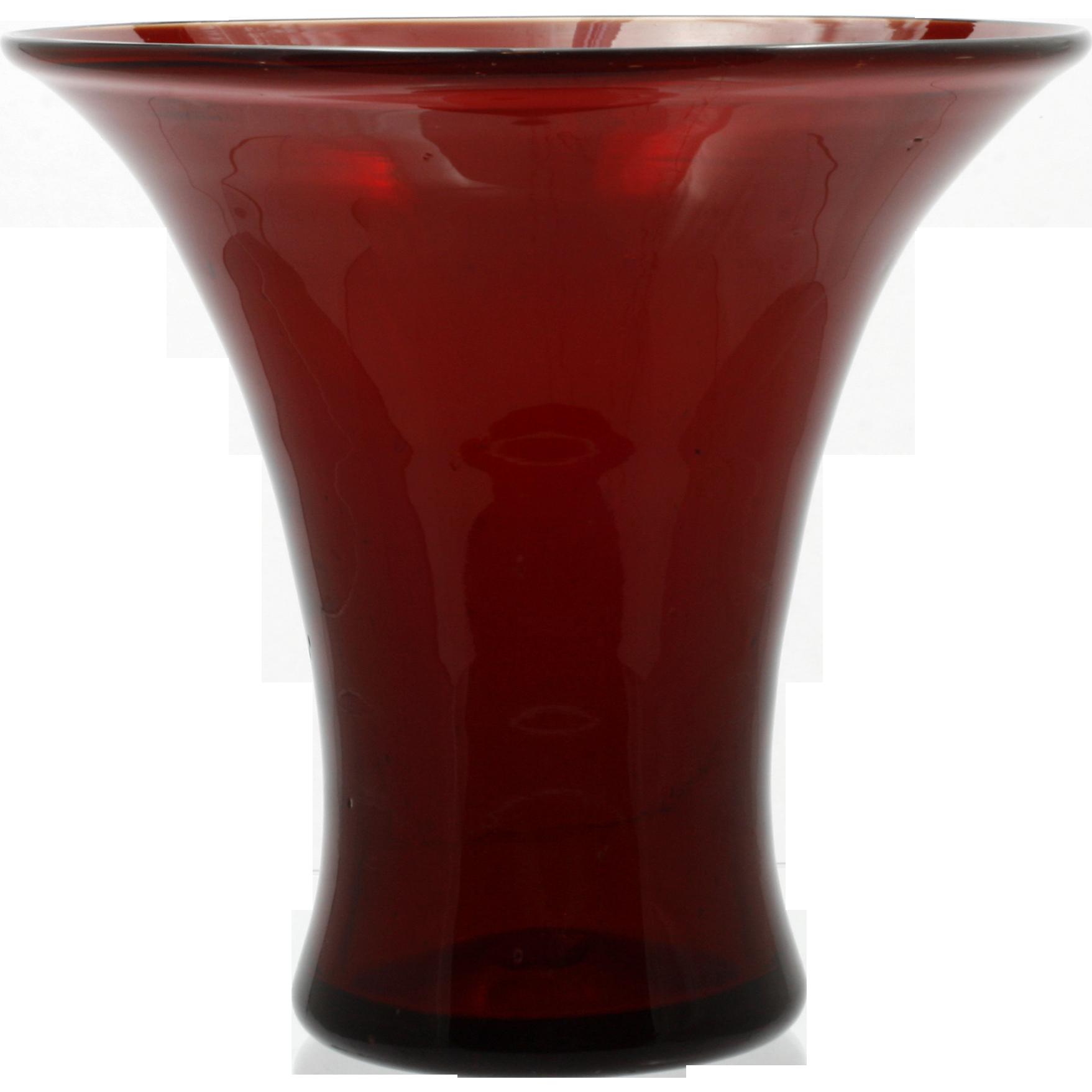 Hand Blown Ruby Red Art Glass Vase Vintage Flared Mid Century Modern