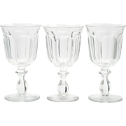 Heisey Colonial Glass Water Goblets Vintage Crystal Paneled Glasses