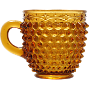 Antique EAPG Amber Glass Mug Pointed Hobnail with Ornamental Band Columbia Glass Co 1889