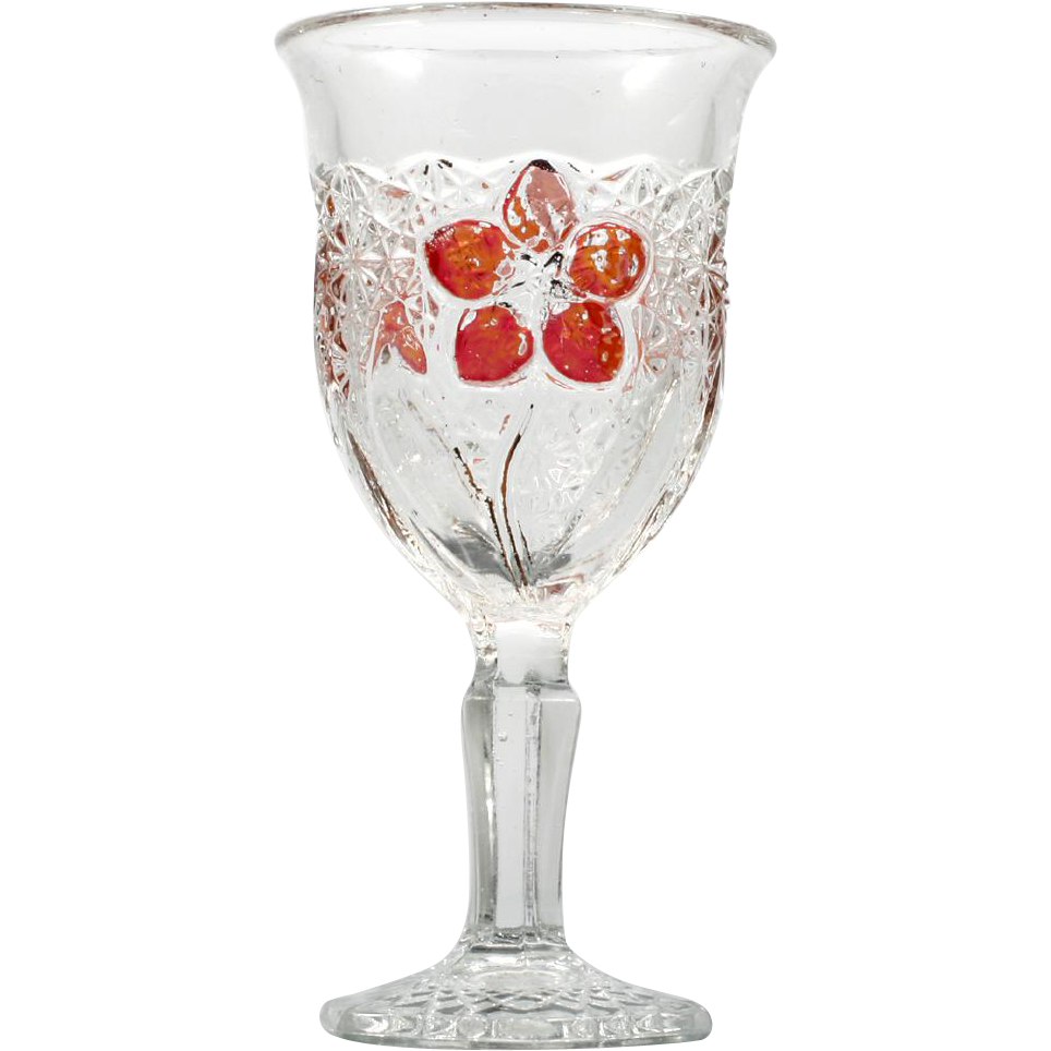 EAPG Daisy Button with Narcissus Indiana Glass Wine Goblet Antique Ruby Stain