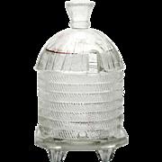 Co-operative Flint Glass Honey Jar EAPG Beehive Antique Mustard Pot