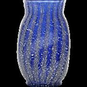 Dugan Pompeian Art Glass Vase Cobalt Blue Striped Frit Antique 1900s