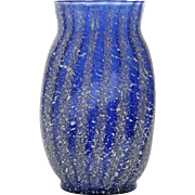 Dugan Pompeian Art Glass Vase Cobalt Blue Striped Frit Antique 1900s