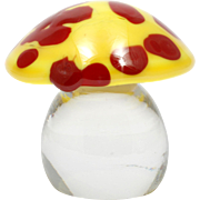 Orrefors Art Glass Mushroom Paperweight Yellow Red Toadstool Signed Swedish Crystal