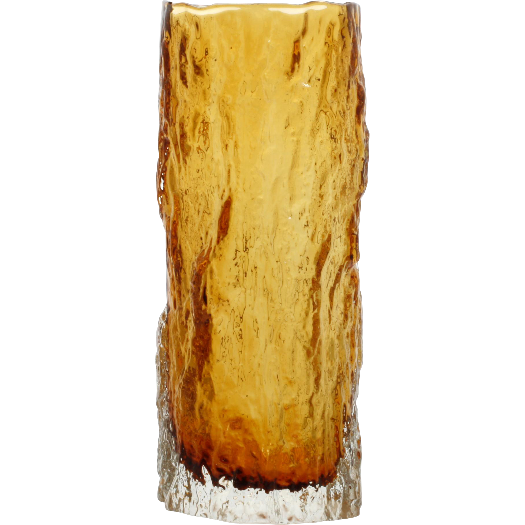 Vintage Amber Bark Art Glass Vase Textured Cased Glass Mid Century Modern