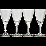 Heisey Frontenac Wine Glasses Vintage Etched Elegant Glass 1920s Wabash