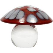 Orrefors Art Glass Mushroom Paperweight Red White Toadstool Signed Swedish Crystal
