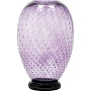 Kosta Boda Amethyst Art Glass Vase Controlled Bubbles Signed Anna Ehrner Sweden