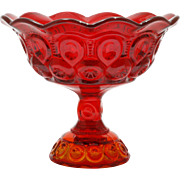 Smith Ruby Red Moon and Star Art Glass Compote Vintage Pedestal Bowl