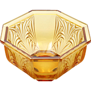 German Crystal Amber Frosted Glass Bowl Art Deco Large Centerpiece with Label