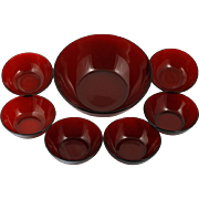 Anchor Hocking Royal Ruby Bowl Set 7 piece Berry Dessert Serving Vintage Red MCM