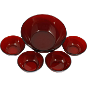 Anchor Hocking Royal Ruby Bowl Set 5 piece Berry Dessert Serving Vintage Red MCM