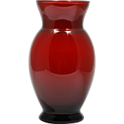 Anchor Hocking Royal Ruby Vase Red Vintage Art Glass 1960s Mid Century Modern
