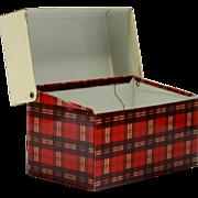 Vintage Tartan Metal Recipe Box Red plaid Tin Ohio Art Company 1950s Storage