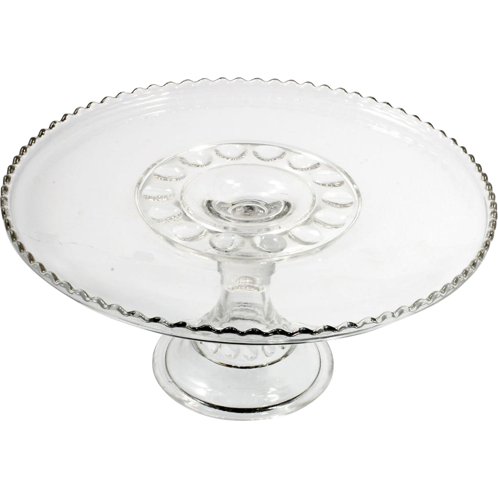EAPG Antique Glass Cake Stand 1903 Carolina Mayflower Inverness US Glass Pressed Circles