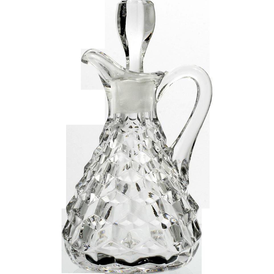 Fostoria American Glass Cruet Bottle Vintage Elegant Glass Oil Vinegar with Stopper