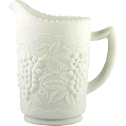 Imperial Glass Vintage Grape Milk Glass Doe Skin Pitcher 16 ounce Satin Glass