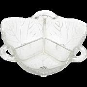 Fostoria Grape Leaf Glass Bowl Three Part Relish Vintage 1940s Pressed Crystal
