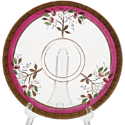 Pink Enameled Depression Glass Plate Gold Ruby Flashed Vintage Elegant Glass Fry