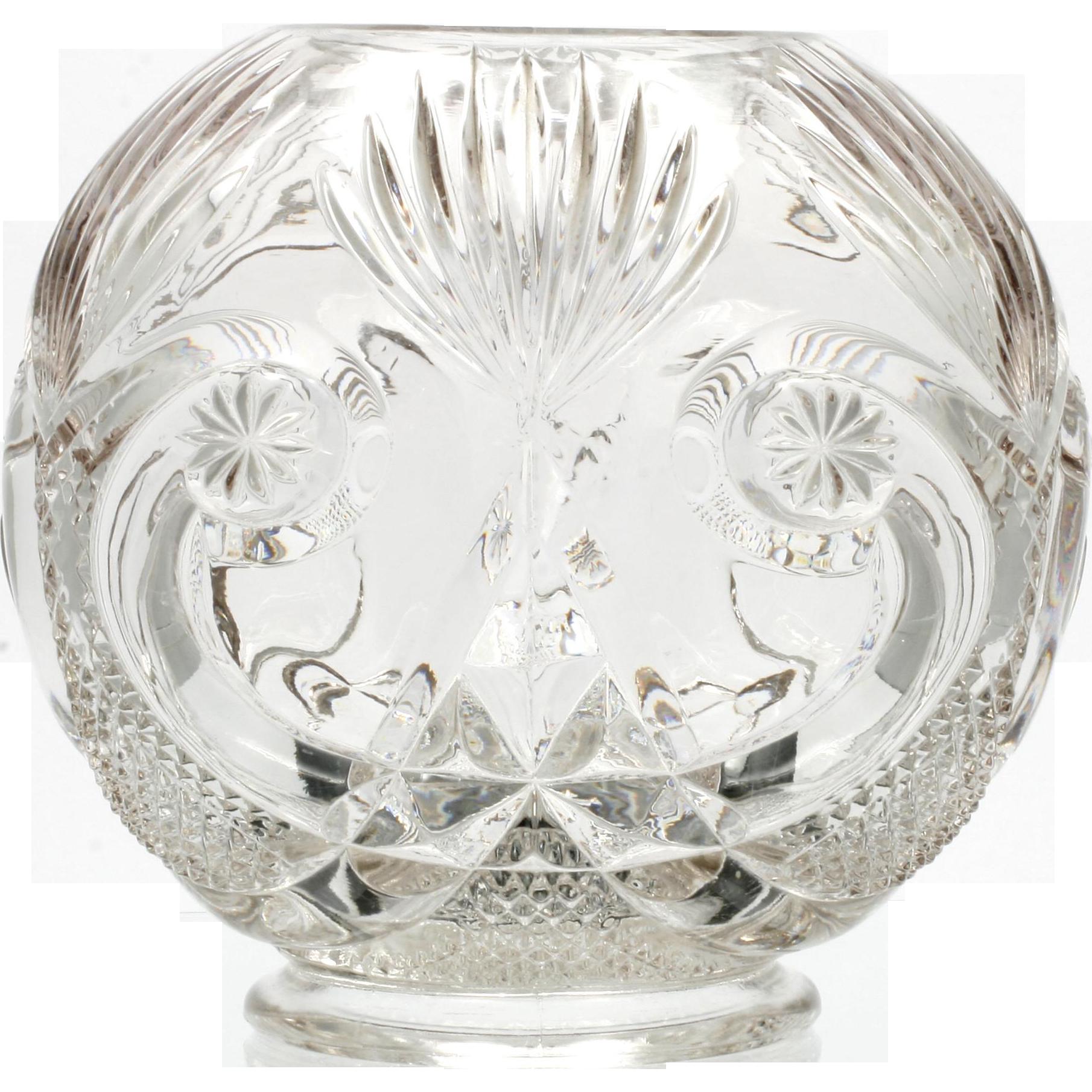 EAPG Starred Scroll Rose Bowl Antique Pressed Glass Large Vase