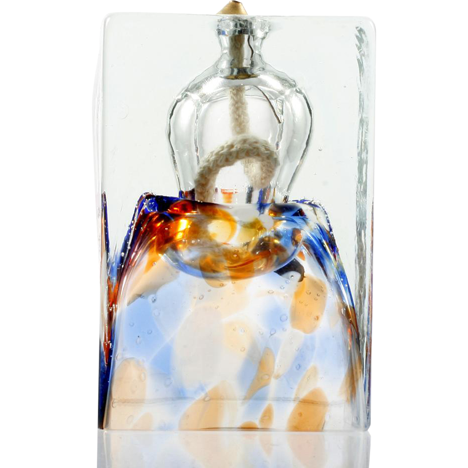 Adam Jablonski Art Glass Oil Lamp Hand Made in Poland Orange and Blue