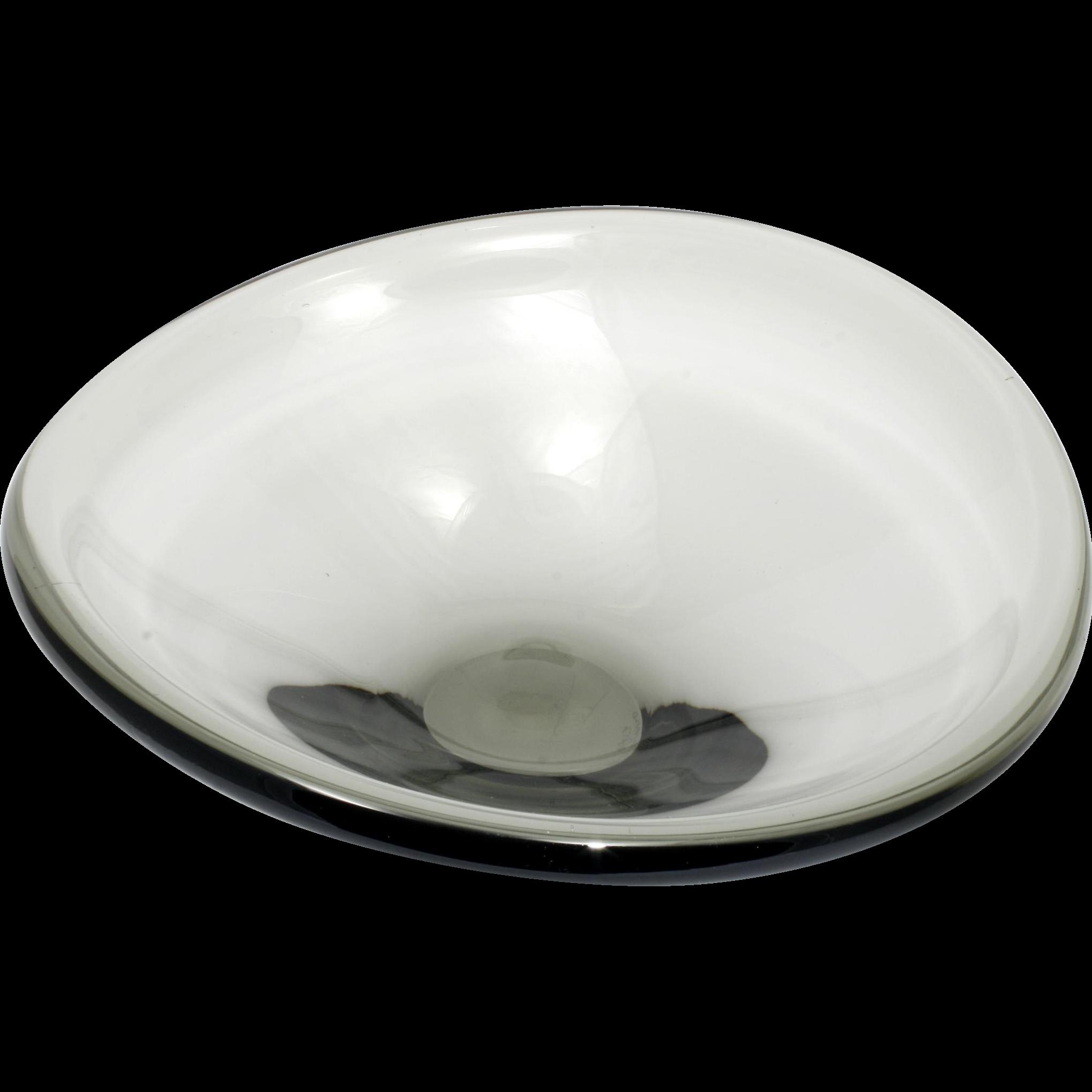 Holmegaard Smoke Glass Selandia Bowl Per Lutkin Signed Vintage Mid Century Modern Art Glass