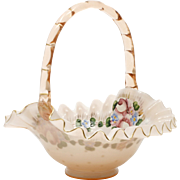 Fenton Rose Overlay Glass Basket Charleton Roses AWCO