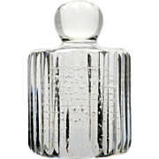 Cut Crystal Paperweight with Controlled Bubbles Vertical Cuts Cylindrical