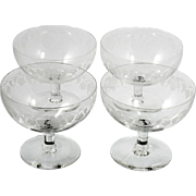 Cambridge Grape Etched Grapefruit Glass Dishes Stem 7801 Vintage Elegant