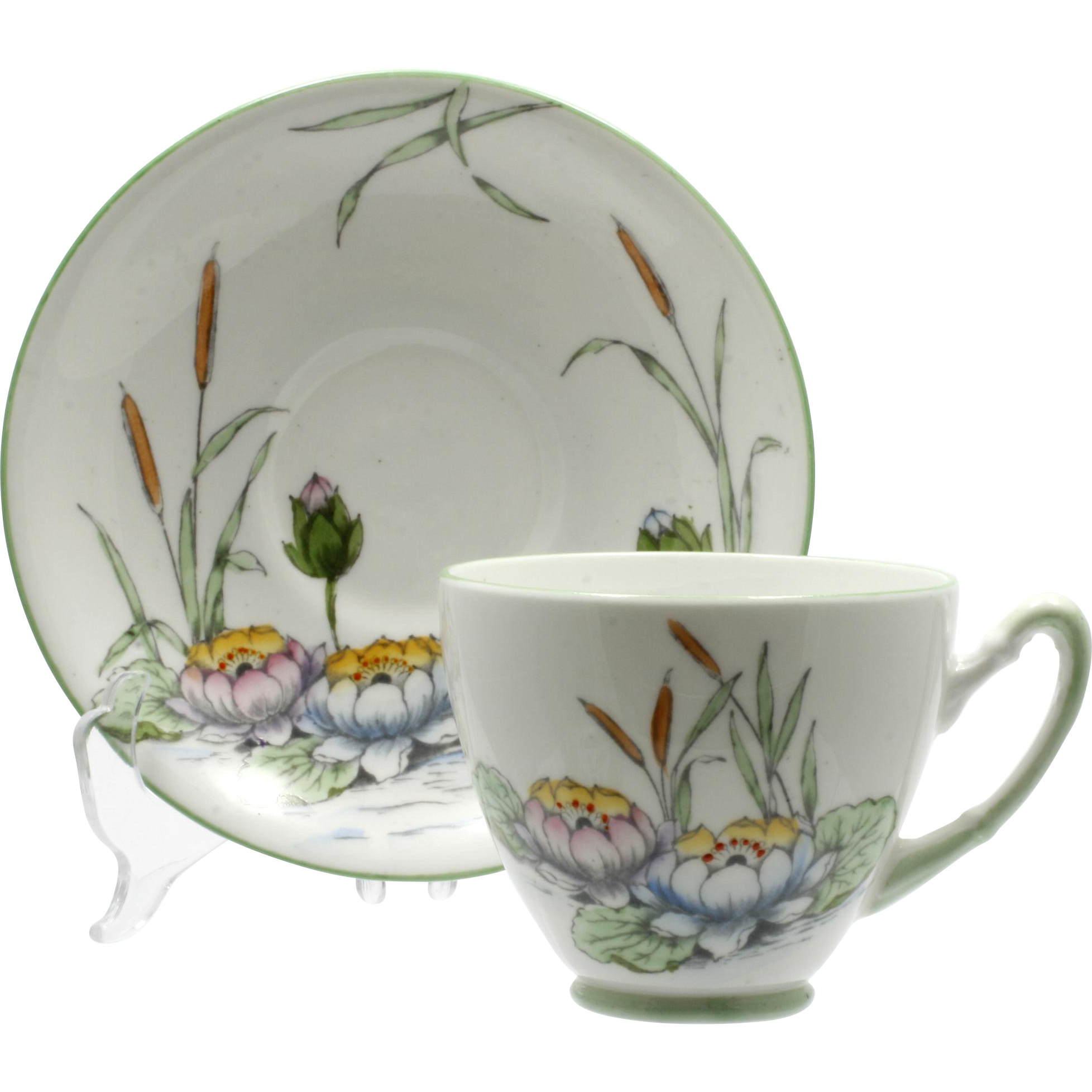 Water Lily Tea Cup and Saucer Vintage English Royal Stafford Bone China
