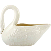 Belleek Swan Figurine Irish Porcelain Vintage 1940s Fourth Mark