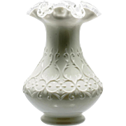 Fenton Spanish Lace Art Glass Vase Silver Crest Milk Glass Vintage 1960s