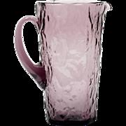 Morgantown Crinkle Amethyst Glass Pitcher Vintage Mid Century Modern Cocktail Juice