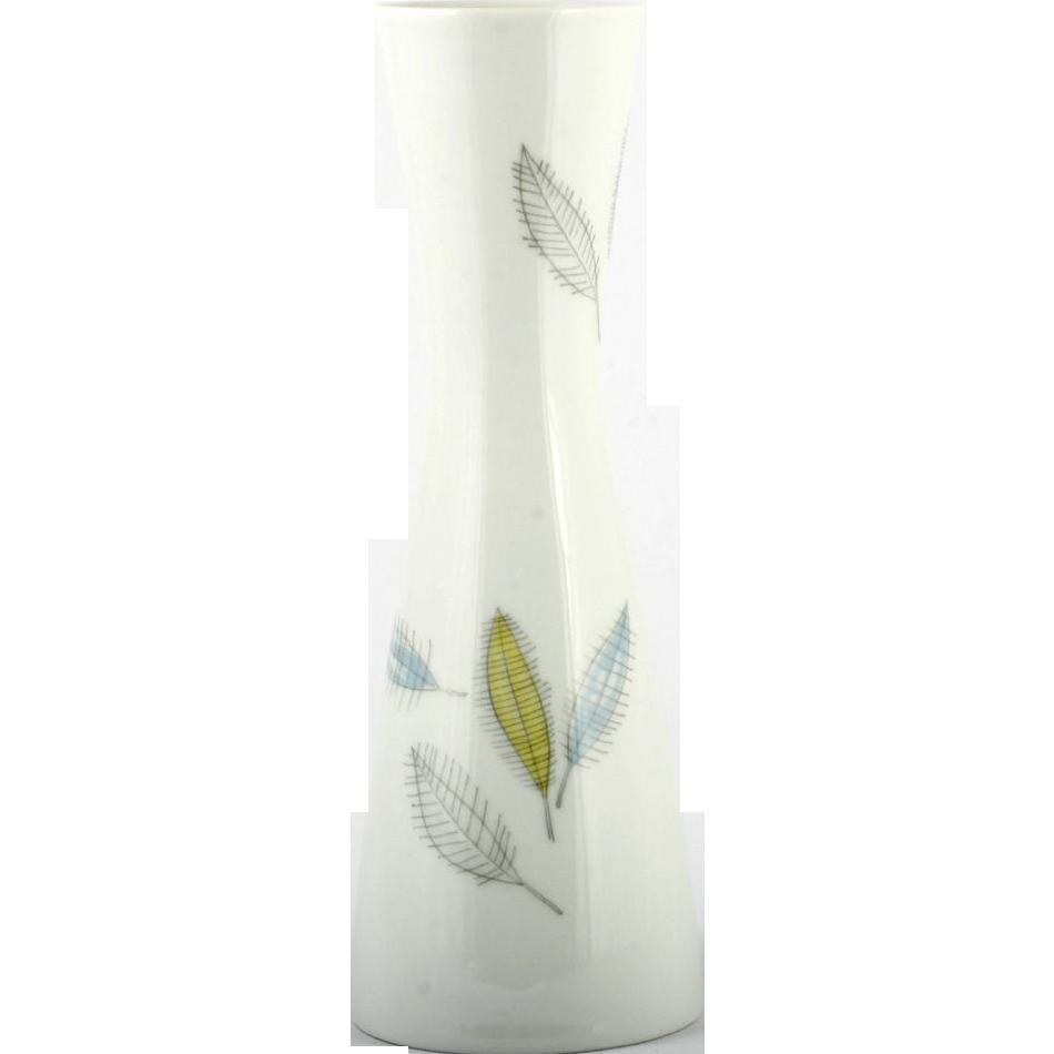 Rosenthal China Vase Bunte Blatter Colored Leaves Vintage Mid Century Modern German
