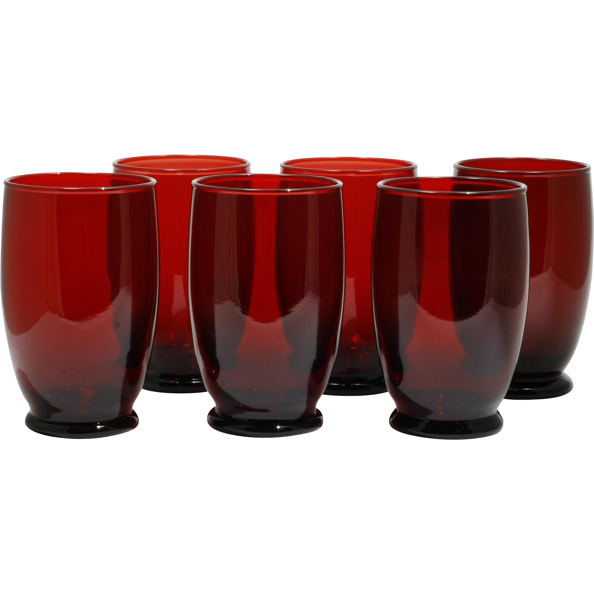 Anchor Hocking Royal Ruby Glass Baltic Tumblers Vintage Mid Century Modern Water Goblet