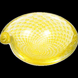 Lemon Yellow Murano Glass Bowl Controlled Bubbles Vintage Mid Century Modern Italian Shell
