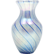 MSH Ash Art Glass Vase Cobalt Blue Spiral Iridescent Hand Blown Made in the USA