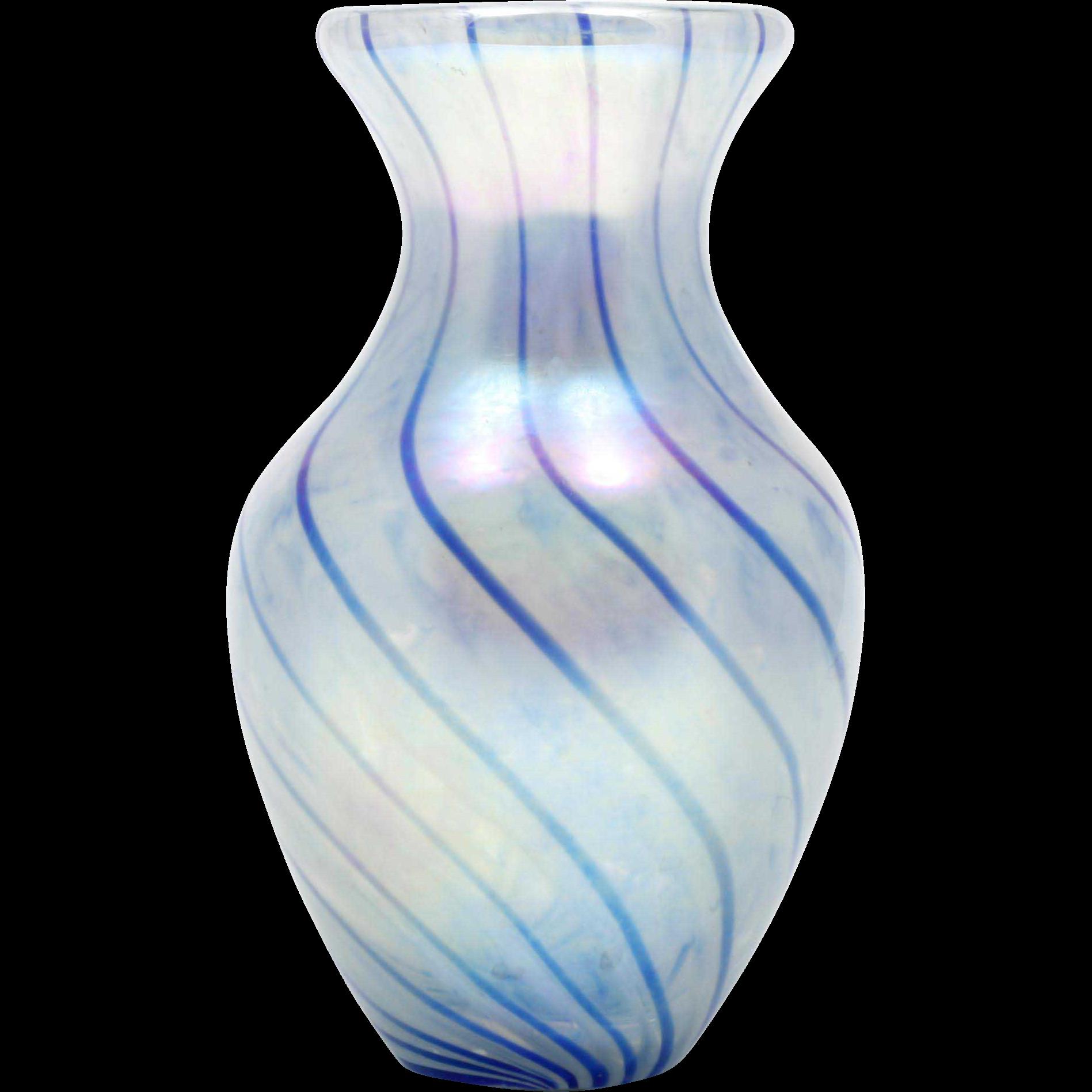 MSH Ash Art Glass Vase Cobalt Blue Spiral Iridescent Hand Blown Made in the USA