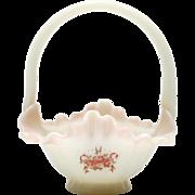 Fenton Antique Rose Glass Basket Vintage 1980s Limited Pink Roses Opal Art Glass