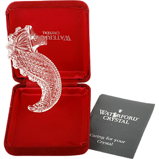 Waterford Crystal Seahorse Paperweight Irish Cut Glass Signed with Box