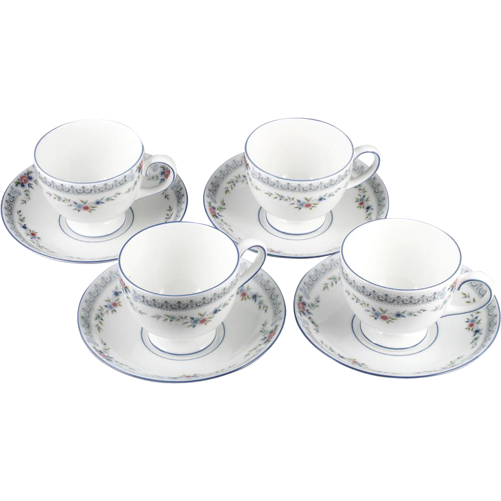 Wedgwood Rosedale Cups and Saucers Set 4 English Bone China Blue Pink Flowers