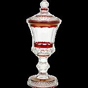 Westmoreland Wakefield Urn Vase Vintage Ruby Flashed Art Glass Elegant
