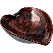 Murano Art Glass Bowl Heart Ruby over Gold Aventurine with Black Amethyst and Original Label