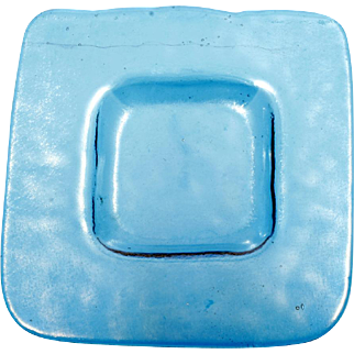 Mesolini Blue Art Glass Small Plate Square hand Made Washington State