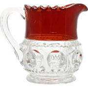 Adams Kings Crown Creamer Ruby Stained Antique Pressed Glass 1890 Victorian