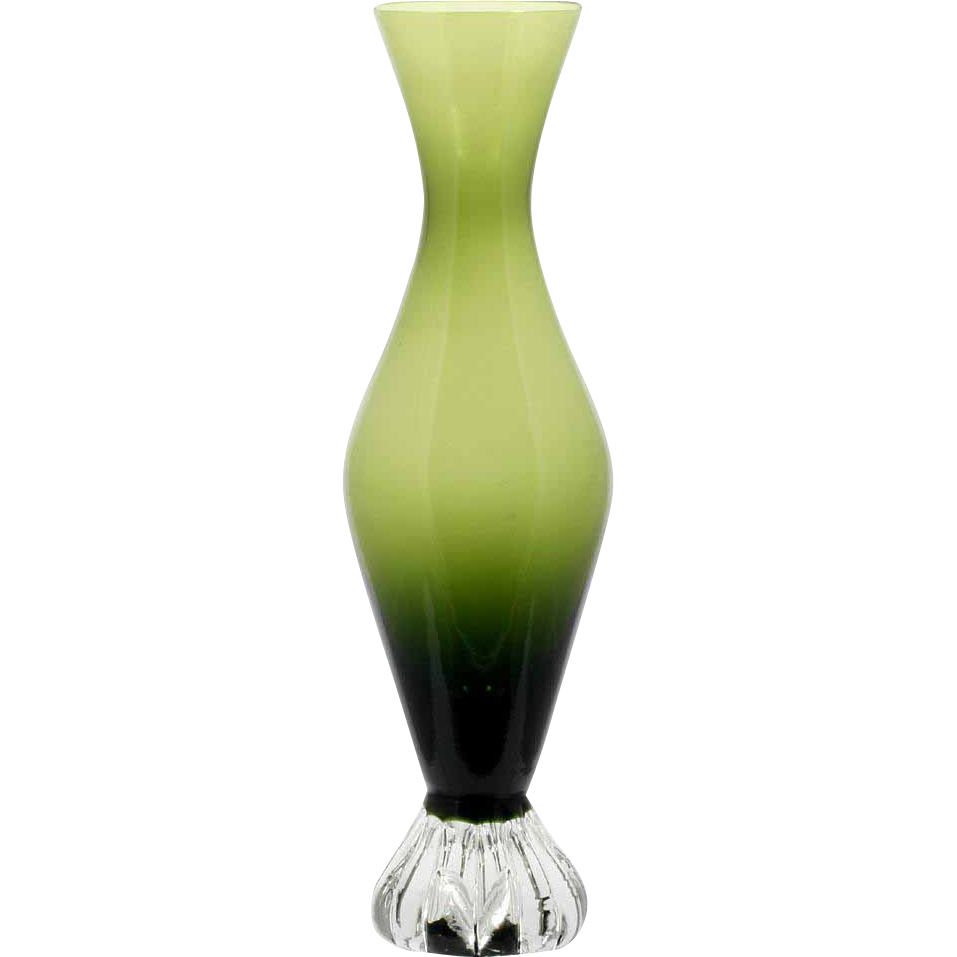 Aseda Green Glass Bud Vase Bo Borgstrom Swedish Art Glass Mid Century Modern
