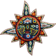 Huichol Bead Art Sun Mexican Indian Hand Crafted Eagle Deer Wall Plaque